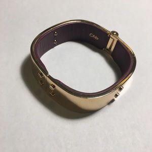 CAbi Hardware bangle gold tone/plum berry leather